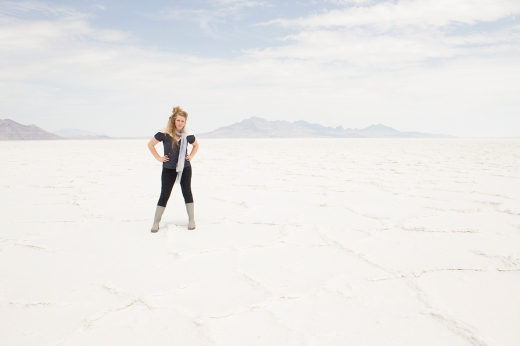 Photo at Bonneville salt flats east of Wendover.  Complete with rain boots and sheepskin.
