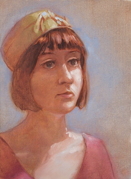 Oil painting study or portrait of girl with pink shirt and green hat