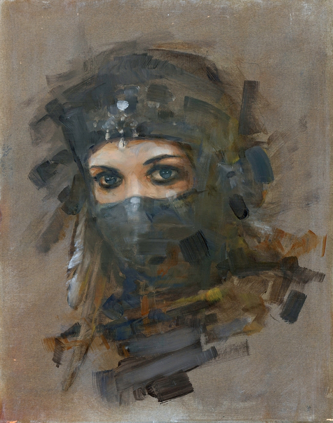 Oil on panel, woman in veiled headdress from fantasy culture.