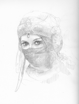 Sketch for painting oil portrait on panel