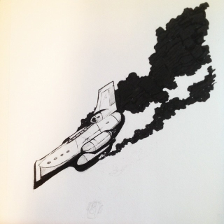 Inktober drawing with damaged spaceship. By Jameson Gardner Art.