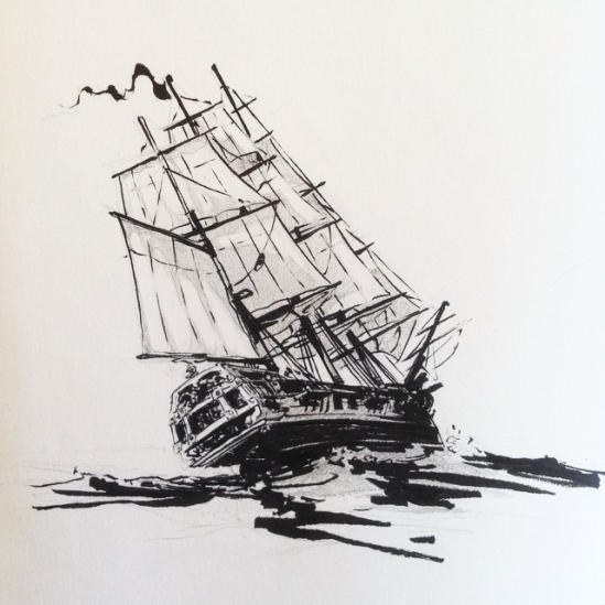 Inktober drawing with frigate heeling in the wind. By Jameson Gardner Art.