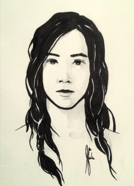 Inktober drawing portrait of girl. By Jameson Gardner Art.