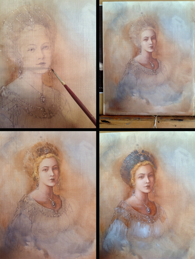 Progress on oil painting of princess by Jameson Gardner