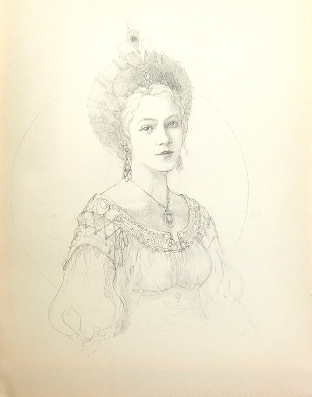 Graphite sketch of princess with decorative french hood. By Jameson Gardner