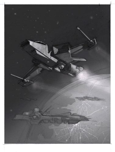 Sketch by Jameson Gardner Art for Star Citizen commission painting