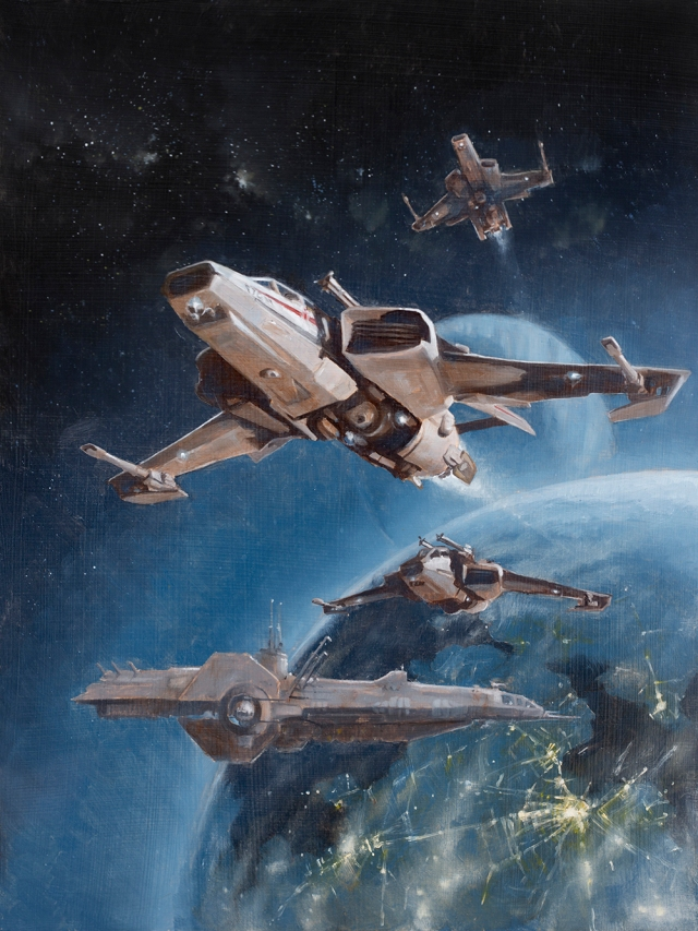 Painting of Super Hornet spaceship from Star Citizen, by Jameson Gardner Art