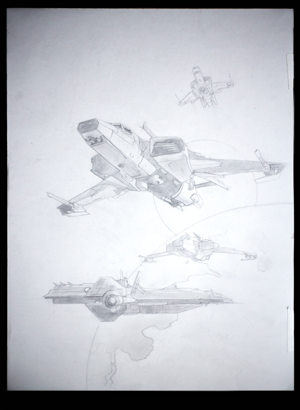 Drawing by Jameson Gardner Art for Star Citizen commission painting